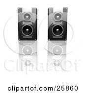 Clipart Illustration Of A Pair Of Black Radio Speakers Side By Side On A Reflective White Surface