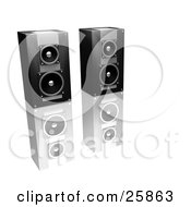 Clipart Illustration Of A Pair Of Black And Silver Stereo Speakers Side By Side On A Reflective White Surface