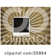 Clipart Illustration Of A Blank Polaroid Photograph Over A Bursting Tan And Brown Grunge Background With Scratches