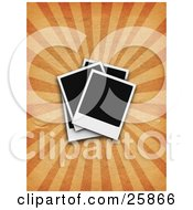 Clipart Illustration Of A Blank Polaroid Photographs Over A Bursting Orange Background by KJ Pargeter
