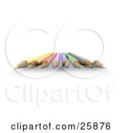 Clipart Illustration Of A Group Of Colored Pencils With Sharpened Tip Facing Forward Over White