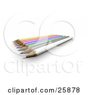 Clipart Illustration Of A Row Of Colored Pencils With Sharpened Tips Over White by KJ Pargeter