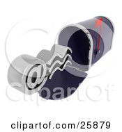 Clipart Illustration Of A Silver At Email Symbol Emerging From A Blue Mailbox With The Red Flag Up Over White