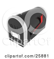 Clipart Illustration Of A Black And Silver Mailbox With A Red Flag Over White by KJ Pargeter