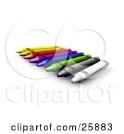 Clipart Illustration Of A Row Of White Gray Green Blue Pink Red And Yellow Crayons Over White