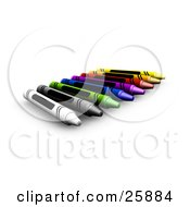 Row Of Colorful Crayons With Blank Labels Over White