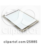 Clipart Illustration Of A Wooden Clipboard With Lined Sheets Of Paper On White by KJ Pargeter