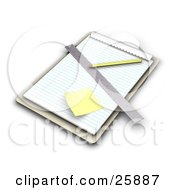 Clipart Illustration Of A Wooden Clipboard With Lined Sheets Of Paper A Sticky Note Ruler And Pencil On White