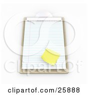 Clipart Illustration Of A Yellow Sticky Note On A Sheet Of Lined Paper On A Wooden Clipboard Over White