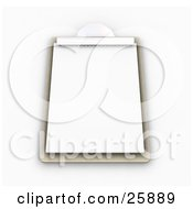 Clipart Illustration Of A Wooden Clipboard With A Blank Sheet Of Paper On White by KJ Pargeter