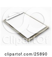 Clipart Illustration Of A Wood Clipboard With A Blank Sheet Of Paper On White by KJ Pargeter