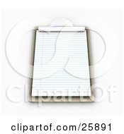Clipart Illustration Of A Wood Clipboard With Lined Sheets Of Paper On White by KJ Pargeter
