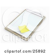 Clipart Illustration Of A Wooden Clipboard With Lined Sheets Of Paper And A Yellow Sticky Note On White