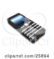 Flat Black And Silver Cellphone With A Blue Screen Over White