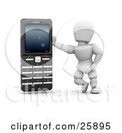 White Character Leaning Against A Black And Silver Cell Phone Over White