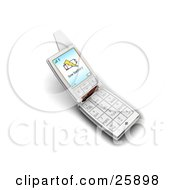 Silver Flip Phone With A Low Battery Warning On The Screen Over White