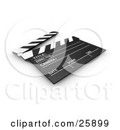 Clipart Illustration Of A Movie Directors Black And White Clapperboard With The Top Up Resting On A Surface
