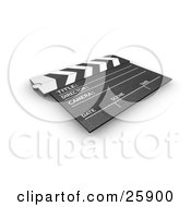 Clipart Illustration Of A Movie Directors Slate Board Resting On A White Surface