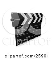 Clipart Illustration Of A Movie Directors Clapperboard Over White