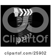 Clipart Illustration Of A Movie Directors Clapboard On A Reflective Black Surface