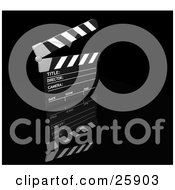 Clipart Illustration Of A Movie Directors Black And White Slate Board With The Top Up Over A Black Reflective Surface