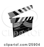 Clipart Illustration Of A Movie Directors Black And White Clapper With The Top Up Over White