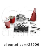 Movie Popcorn Soda Film Reels Directors Cone And A Clapperboard Over White