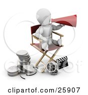 Clipart Illustration Of A White Character Shouting Through A Cone While Sitting In A Directors Chair With Film Reels And A Clapperboard On The Ground