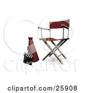 Clipart Illustration Of A Clapperboard Megaphone And Directors Chair In A Studio Over White by KJ Pargeter