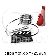 Red Directors Cone Film Reels And A Clapperboard On White