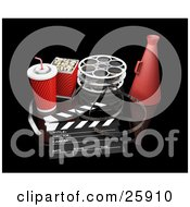 Clipart Illustration Of Movie Popcorn Soda Film Reels Megaphone And A Clapperboard Over Black by KJ Pargeter