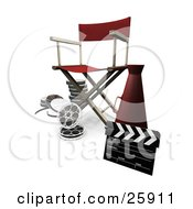 Clipart Illustration Of A Red Directors Chair Cone Film Reels And Clapperboard On White