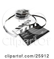Clipart Illustration Of Film Emerging From A Reel Resting Beside A Clapper Board by KJ Pargeter