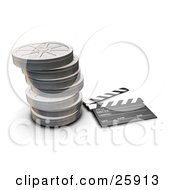 Movie Drectors Clapper Board Resting By Stacked Closed Metal Film Reels Over White