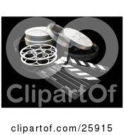 Clipart Illustration Of Film Reels And A Clapboard On A Black Surface
