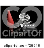 Clipart Illustration Of A Film Reel Loud Hailer And Clapperboard Over Black by KJ Pargeter