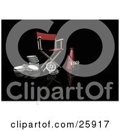Clipart Illustration Of A Red Directors Chair Megaphone Film Reels And Clapperboard On Black