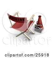 Clipart Illustration Of A Red Directors Chair With A Loud Hailer Cone And Clapper by KJ Pargeter