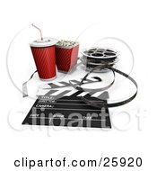 Clipart Illustration Of Movie Popcorn Soda Film Reels And A Clapperboard Over White