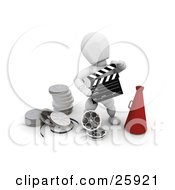 Clipart Illustration Of A White Character Holding A Clapper And Standing With A Megaphone And Film Reels At His Feet by KJ Pargeter