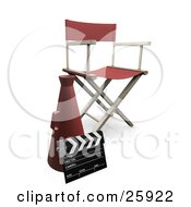 Clipart Illustration Of A Red Cone Clapper And Directors Chair In A Filming Studio by KJ Pargeter