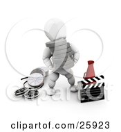White Character Carrying Film Reels Past A Directors Cone And A Clapper