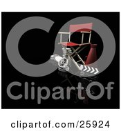 Clipart Illustration Of A Red Directors Chair Loud Hailer Film Reels And Clapperboard On Black