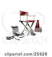 Clipart Illustration Of A Red Directors Chair Loud Hailer Film Reels And Clapperboard On White