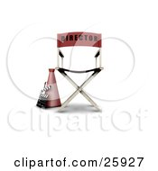 Clipart Illustration Of A Loud Hailer Cone Clapperboard And Red Movie Directors Chair On White