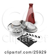 Clipart Illustration Of A Red Directors Cone Resting Behind Film Reels And A Clapperboard Over White