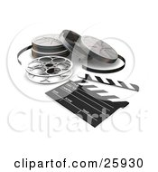 Clipart Illustration Of Film Reels And A Clapboard On A White Surface