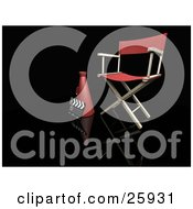 Clipart Illustration Of A Clapperboard Megaphone And Directors Chair In A Studio Over Black