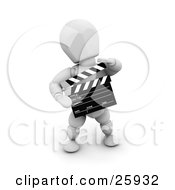 Clipart Illustration Of A White Character Preparing For Another Movie Take Holding A Clapperboard by KJ Pargeter