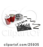 Soft Drink Popcorn Movie Reel And Clapper On White